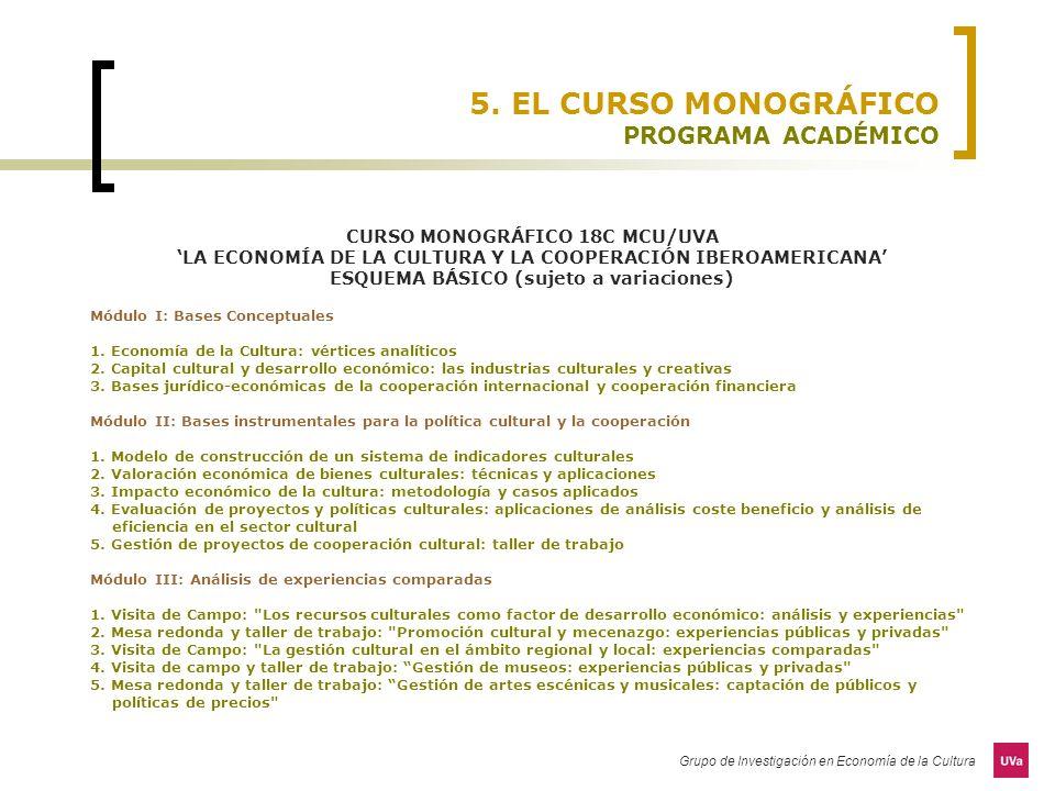Grupo de Investigación en Economía de la Cultura 5. EL CURSO MONOGRÁFICO PROGRAMA ACADÉMICO CURSO MONOGRÁFICO 18C MCU/UVA LA ECONOMÍA DE LA CULTURA Y