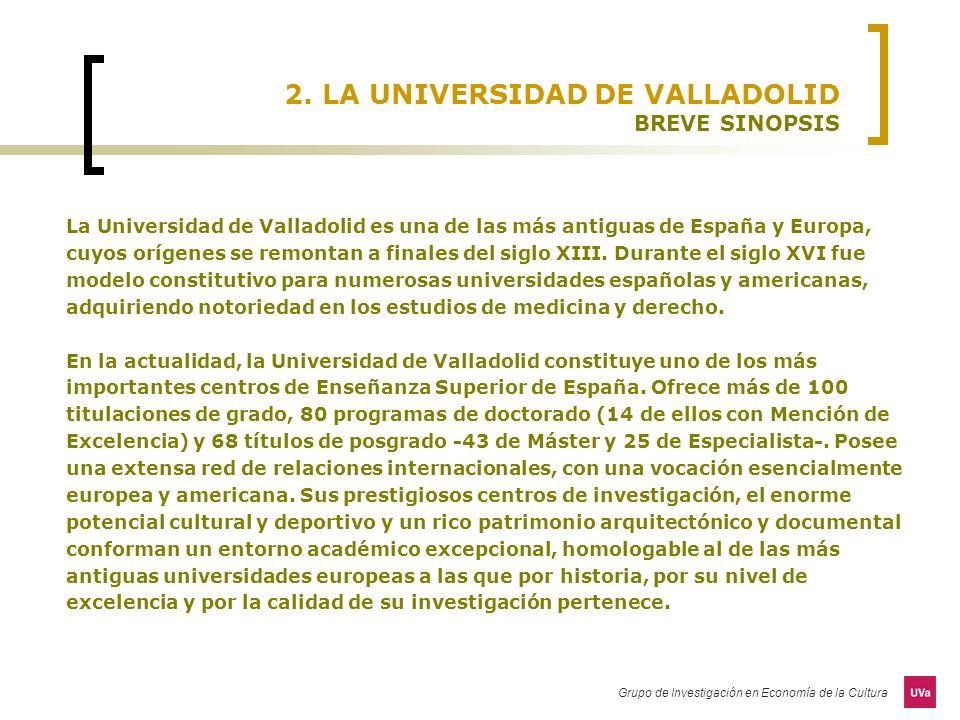 Grupo de Investigación en Economía de la Cultura 2. LA UNIVERSIDAD DE VALLADOLID BREVE SINOPSIS La Universidad de Valladolid es una de las más antigua