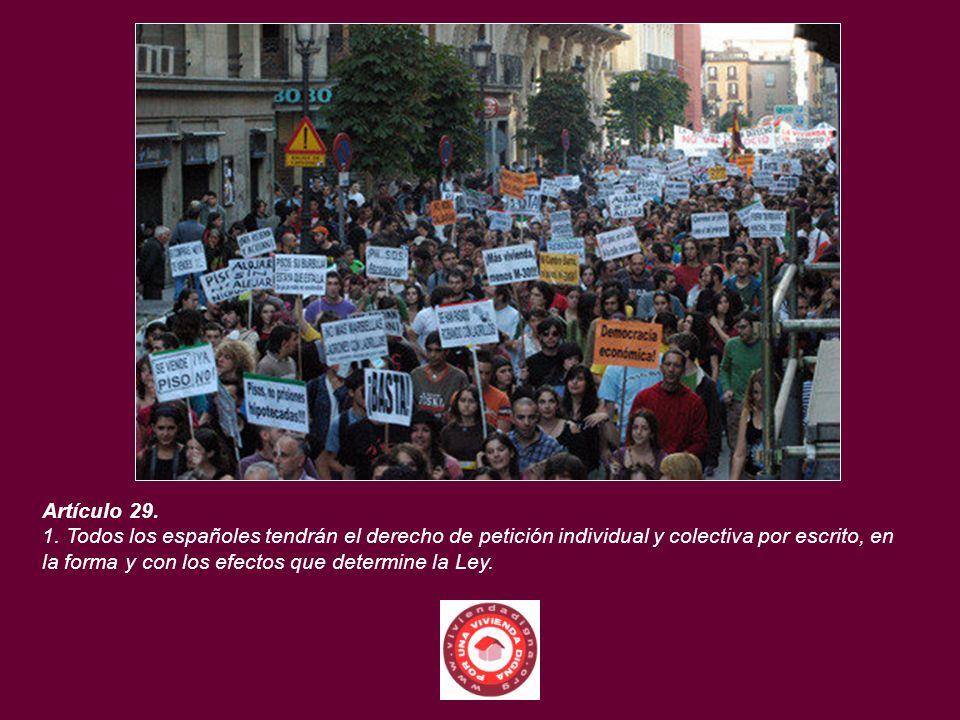 Artículo 29. 1. Todos los españoles tendrán el derecho de petición individual y colectiva por escrito, en la forma y con los efectos que determine la