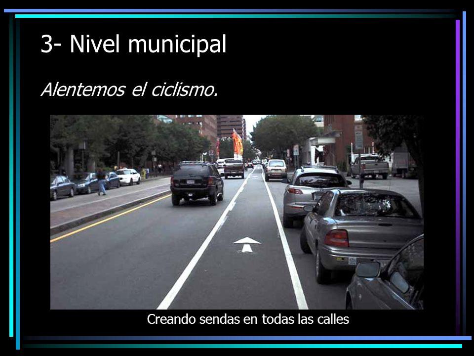 3- Nivel municipal Alentemos el ciclismo. Creando sendas en todas las calles