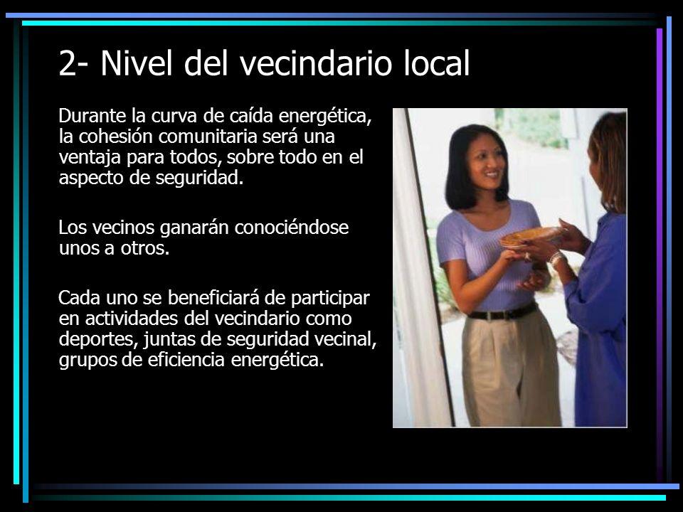 2- Nivel del vecindario local Durante la curva de caída energética, la cohesión comunitaria será una ventaja para todos, sobre todo en el aspecto de seguridad.