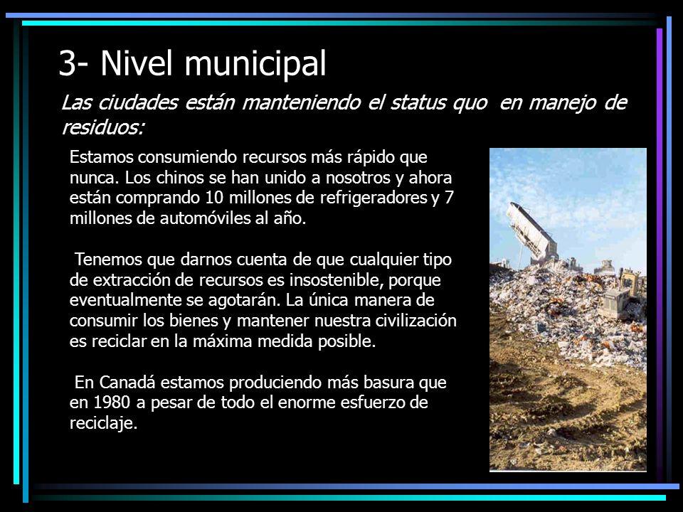 3- Nivel municipal Las ciudades están manteniendo el status quo en manejo de residuos: Estamos consumiendo recursos más rápido que nunca.