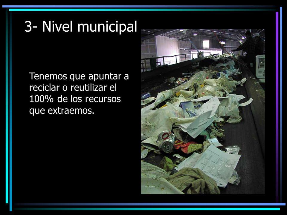 3- Nivel municipal Tenemos que apuntar a reciclar o reutilizar el 100% de los recursos que extraemos.