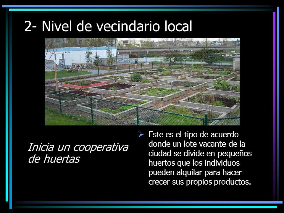 2- Nivel de vecindario local Inicia un cooperativa de huertas Este es el tipo de acuerdo donde un lote vacante de la ciudad se divide en pequeños huertos que los individuos pueden alquilar para hacer crecer sus propios productos.