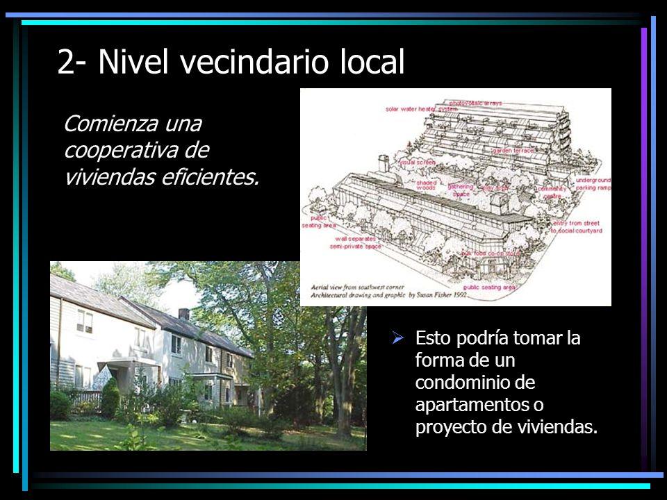 2- Nivel vecindario local Comienza una cooperativa de viviendas eficientes.