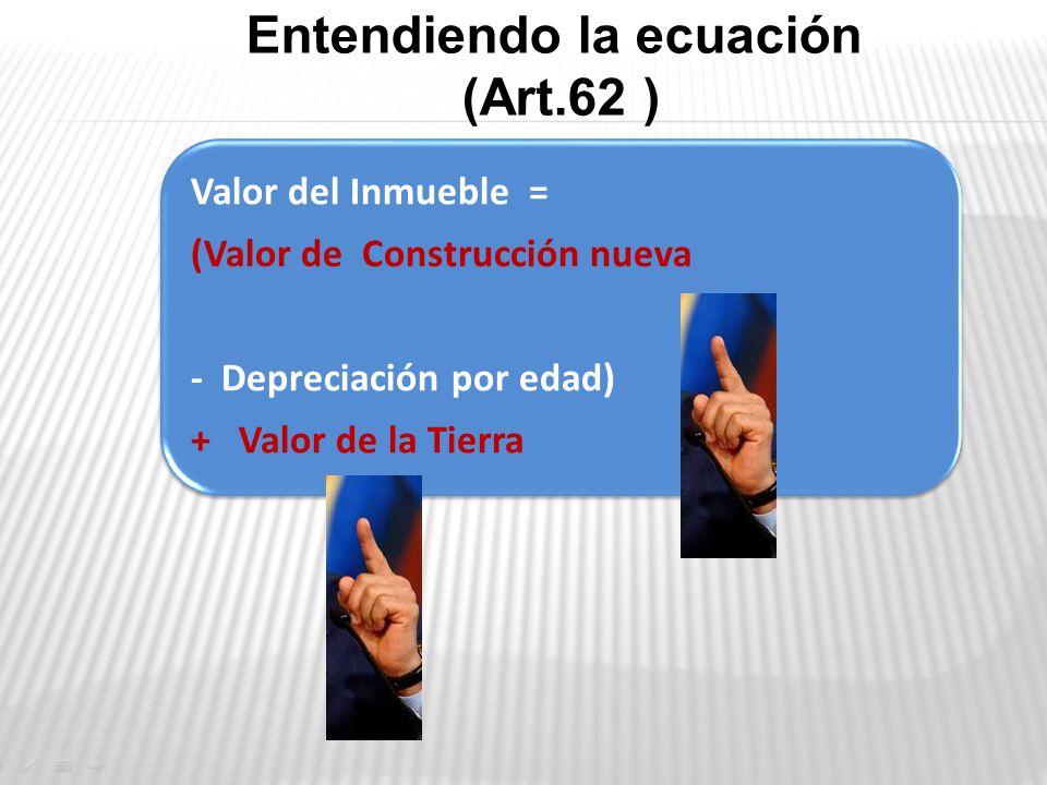 Valor del Inmueble = (Valor de Construcción nueva - Depreciación por edad) + Valor de la Tierra Entendiendo la ecuación (Art.62 )