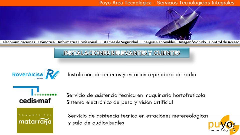 Telecomunicaciones Dómotica Informatica Profesional Sistemas de Seguridad Energias Renovables Imagen&Sonido Control de Acceso Instalación de antenas y