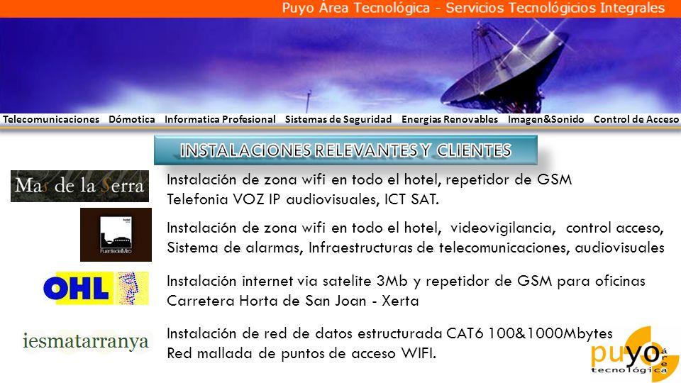 Telecomunicaciones Dómotica Informatica Profesional Sistemas de Seguridad Energias Renovables Imagen&Sonido Control de Acceso Instalación de zona wifi