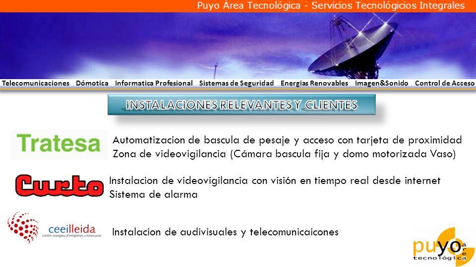 Telecomunicaciones Dómotica Informatica Profesional Sistemas de Seguridad Energias Renovables Imagen&Sonido Control de Acceso Automatizacion de bascul