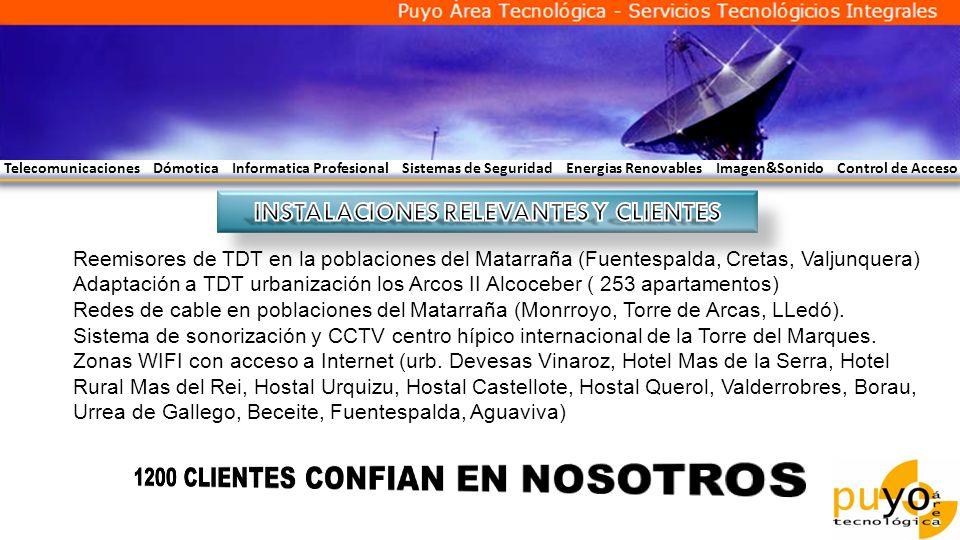 Telecomunicaciones Dómotica Informatica Profesional Sistemas de Seguridad Energias Renovables Imagen&Sonido Control de Acceso Reemisores de TDT en la