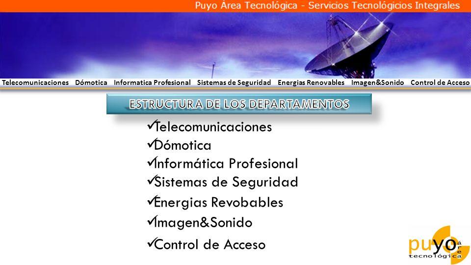 Telecomunicaciones Dómotica Informatica Profesional Sistemas de Seguridad Energias Renovables Imagen&Sonido Control de Acceso Telecomunicaciones Dómot