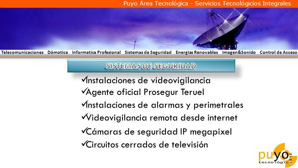 Telecomunicaciones Dómotica Informatica Profesional Sistemas de Seguridad Energias Renovables Imagen&Sonido Control de Acceso Instalaciones de videovi