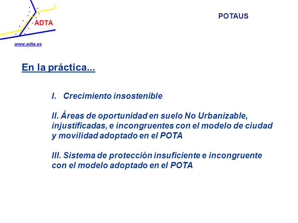 En la práctica... I. Crecimiento insostenible II. Áreas de oportunidad en suelo No Urbanizable, injustificadas, e incongruentes con el modelo de ciuda
