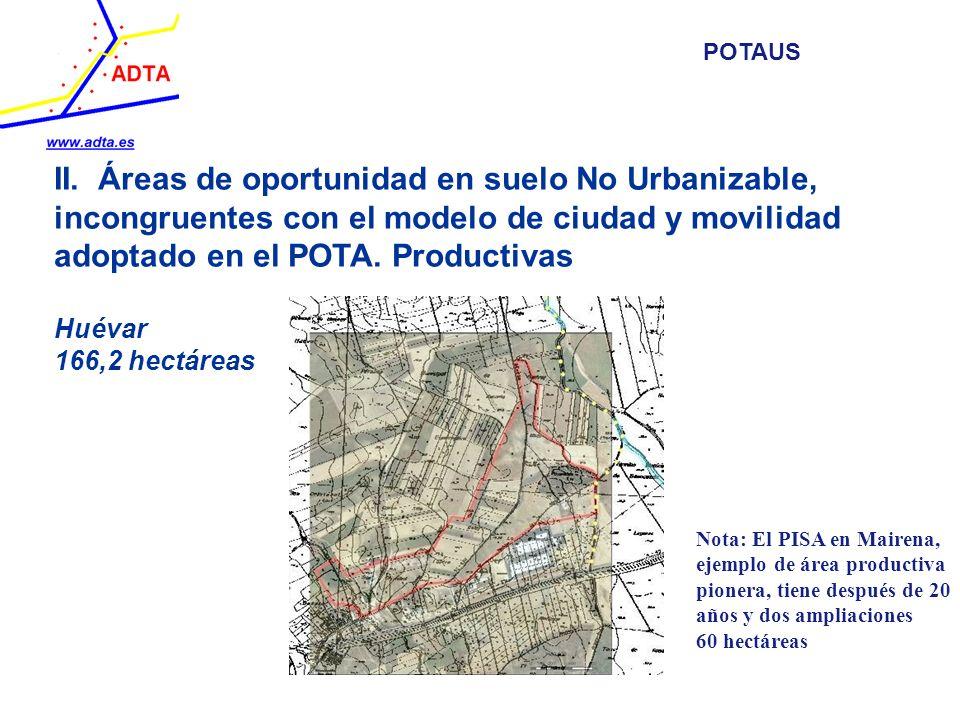 II. Áreas de oportunidad en suelo No Urbanizable, incongruentes con el modelo de ciudad y movilidad adoptado en el POTA. Productivas Huévar 166,2 hect