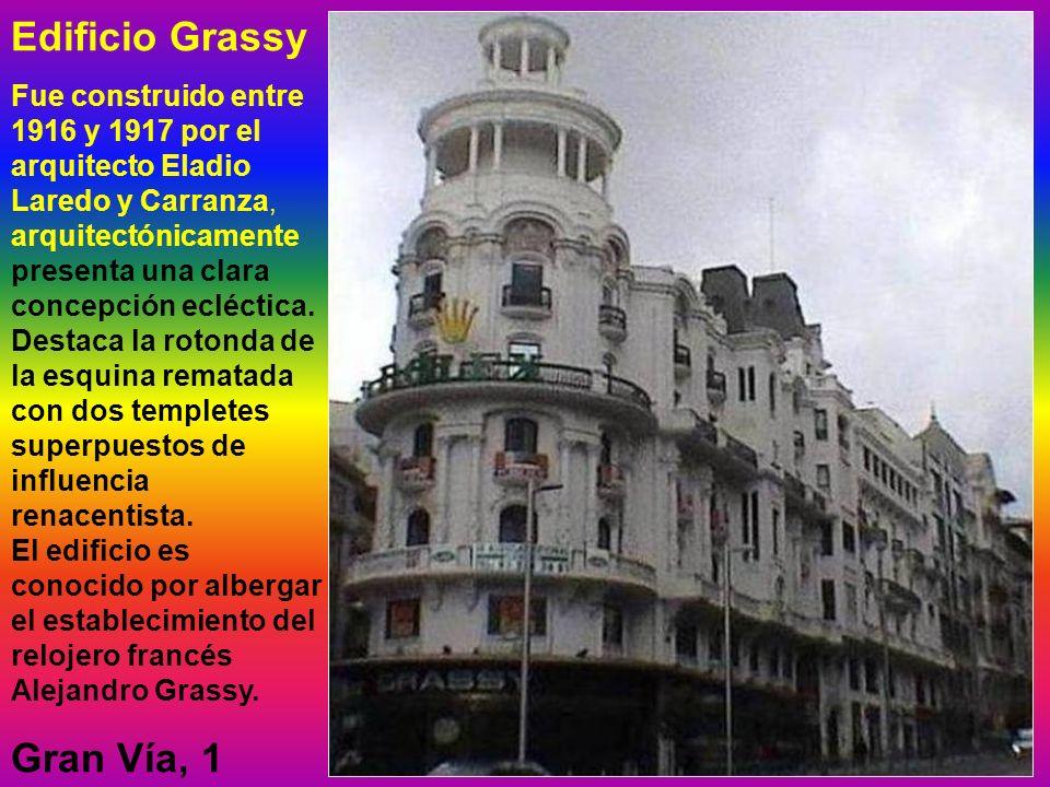 Edificio Grassy Fue construido entre 1916 y 1917 por el arquitecto Eladio Laredo y Carranza, arquitectónicamente presenta una clara concepción ecléctica.