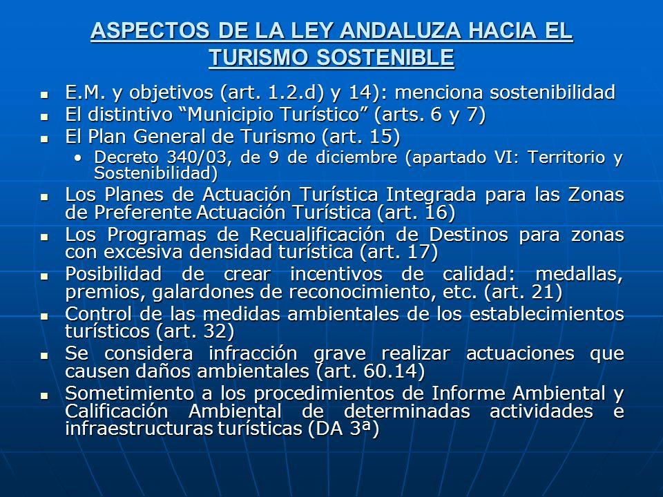ASPECTOS DE LA LEY ANDALUZA HACIA EL TURISMO SOSTENIBLE E.M. y objetivos (art. 1.2.d) y 14): menciona sostenibilidad E.M. y objetivos (art. 1.2.d) y 1