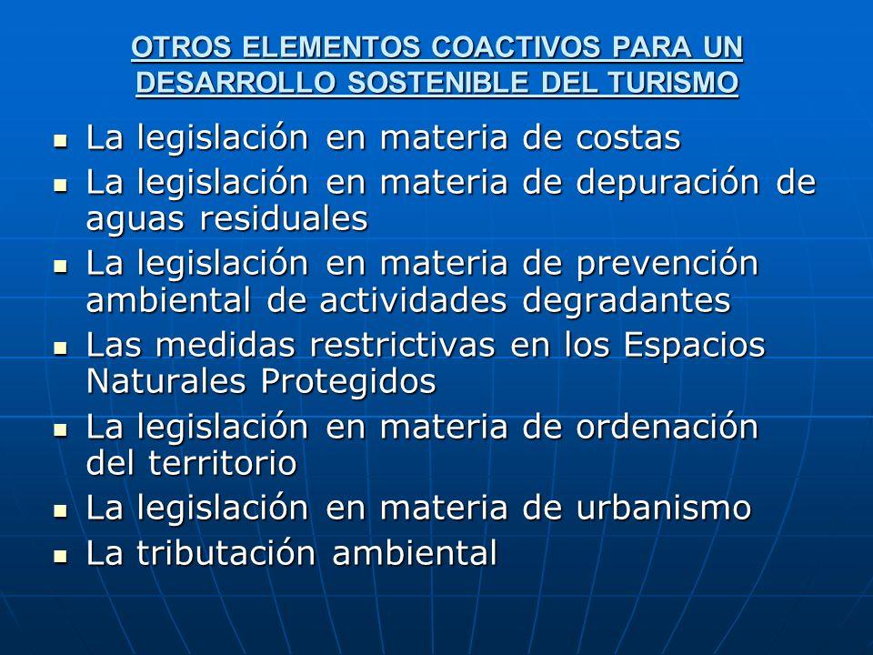 OTROS ELEMENTOS COACTIVOS PARA UN DESARROLLO SOSTENIBLE DEL TURISMO La legislación en materia de costas La legislación en materia de costas La legisla