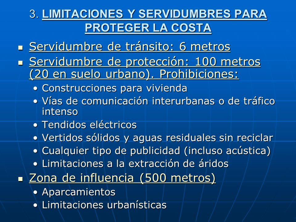 3. LIMITACIONES Y SERVIDUMBRES PARA PROTEGER LA COSTA Servidumbre de tránsito: 6 metros Servidumbre de tránsito: 6 metros Servidumbre de tránsito: 6 m