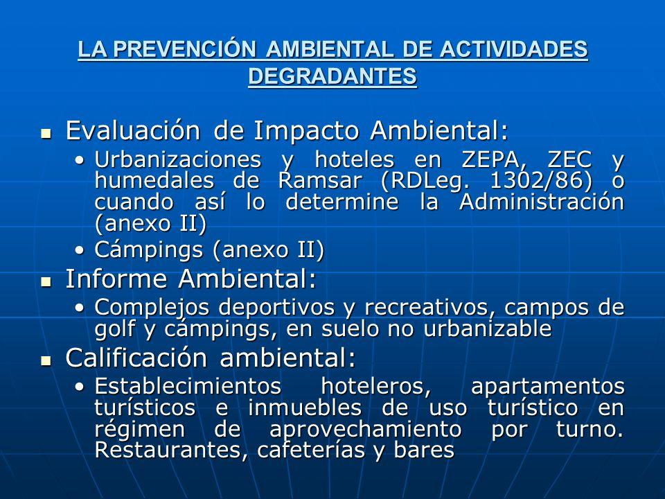 LA PREVENCIÓN AMBIENTAL DE ACTIVIDADES DEGRADANTES Evaluación de Impacto Ambiental: Evaluación de Impacto Ambiental: Urbanizaciones y hoteles en ZEPA,