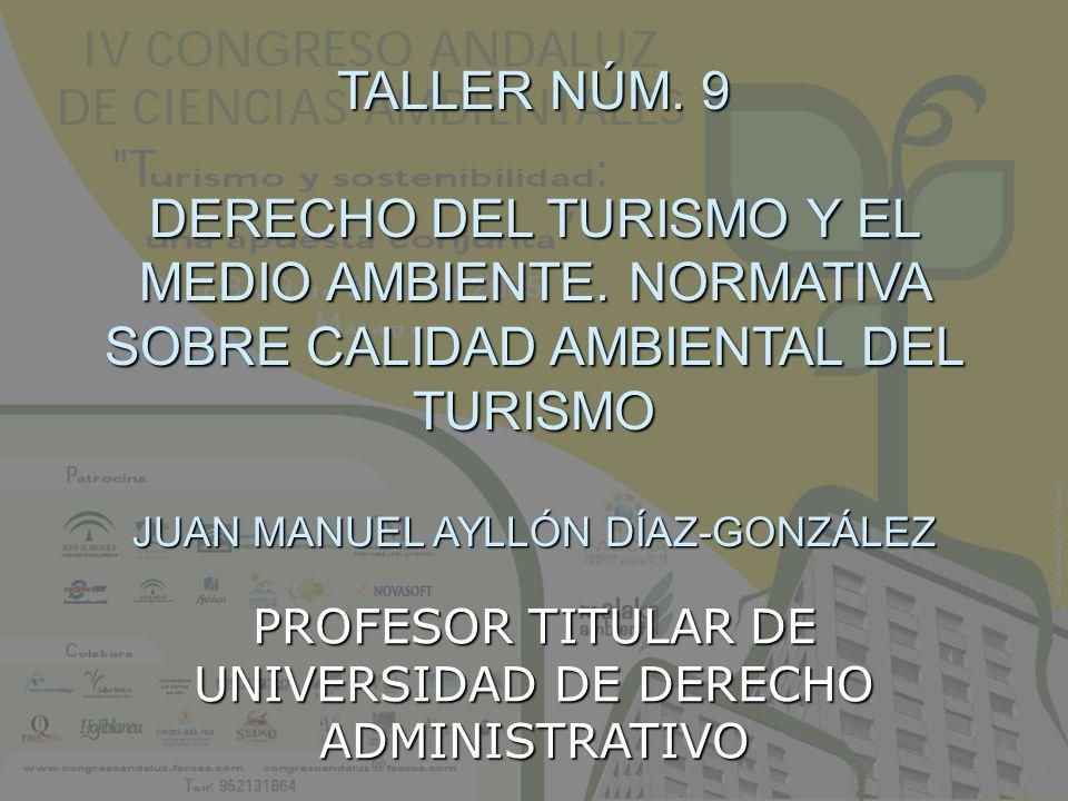TALLER NÚM. 9 DERECHO DEL TURISMO Y EL MEDIO AMBIENTE. NORMATIVA SOBRE CALIDAD AMBIENTAL DEL TURISMO JUAN MANUEL AYLLÓN DÍAZ-GONZÁLEZ PROFESOR TITULAR