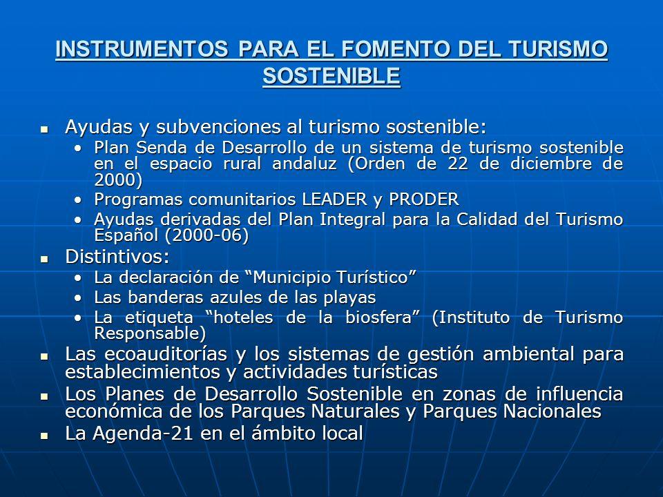 INSTRUMENTOS PARA EL FOMENTO DEL TURISMO SOSTENIBLE Ayudas y subvenciones al turismo sostenible: Ayudas y subvenciones al turismo sostenible: Plan Sen