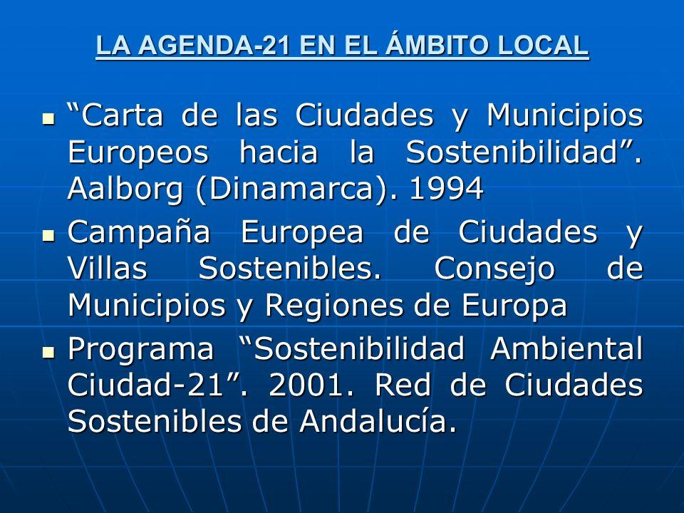 LA AGENDA-21 EN EL ÁMBITO LOCAL Carta de las Ciudades y Municipios Europeos hacia la Sostenibilidad. Aalborg (Dinamarca). 1994 Carta de las Ciudades y