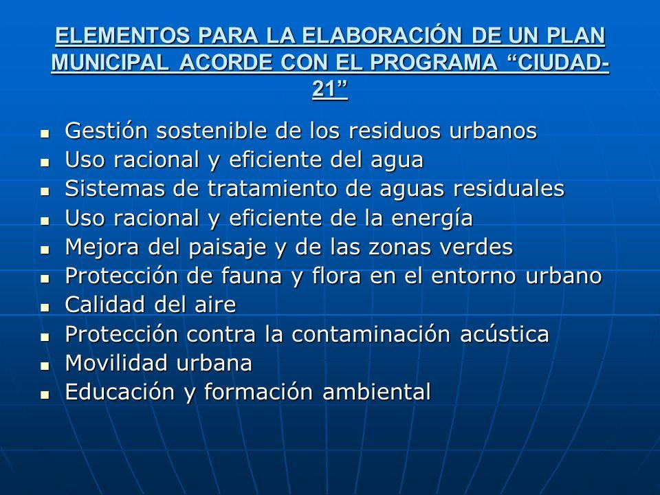 ELEMENTOS PARA LA ELABORACIÓN DE UN PLAN MUNICIPAL ACORDE CON EL PROGRAMA CIUDAD- 21 Gestión sostenible de los residuos urbanos Gestión sostenible de