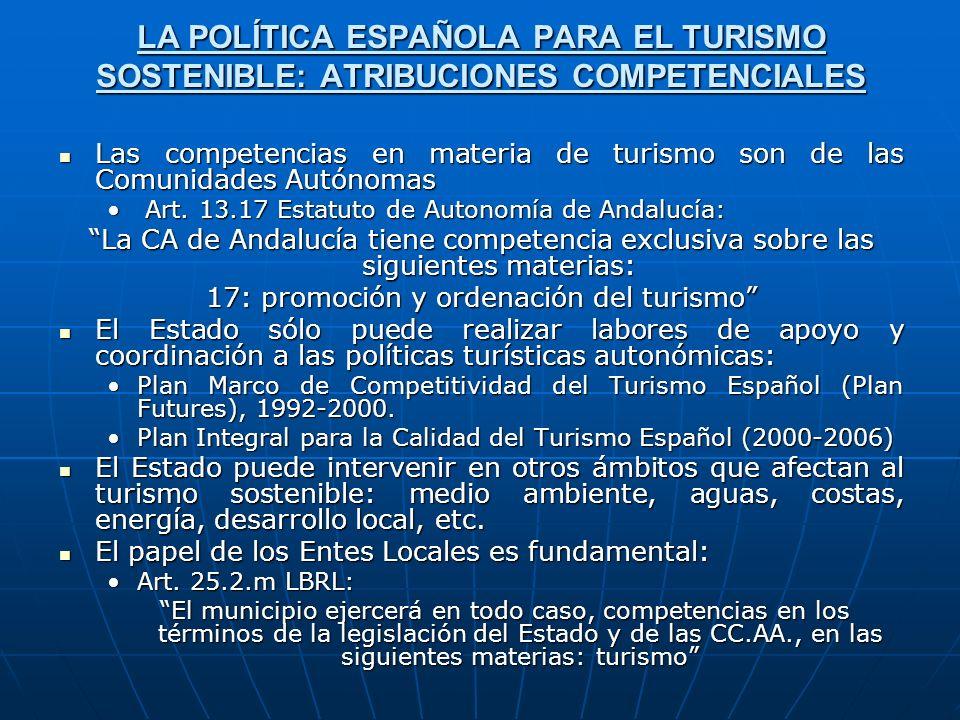 LA POLÍTICA ESPAÑOLA PARA EL TURISMO SOSTENIBLE: ATRIBUCIONES COMPETENCIALES Las competencias en materia de turismo son de las Comunidades Autónomas L