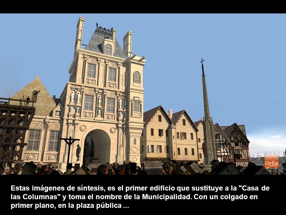 En esta imagen aparece en la parte inferior, el Louvre. A la derecha, la punta de la iIle de la Cité y las casas de los canónigos del Palacio de la ci