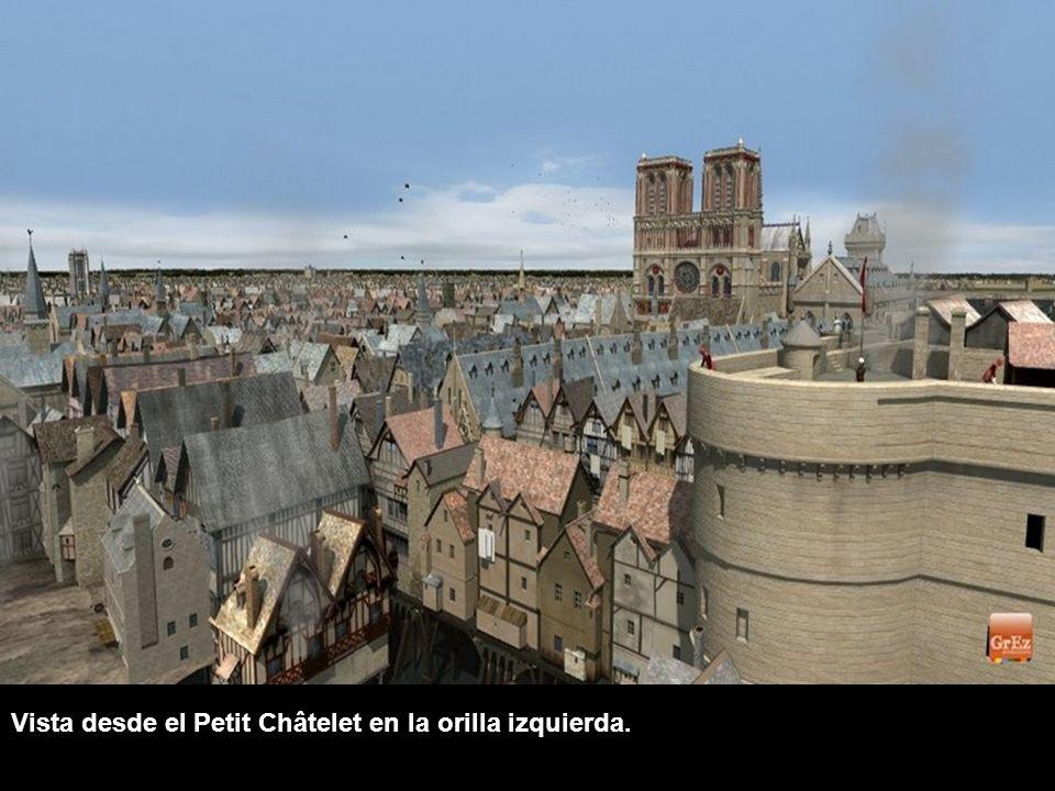 En la Edad Media, con los edificios que estaban en el puente, los peatones cruzaban el Sena. Aquí, el Petit-Pont, que todavía existe, y que conecta la
