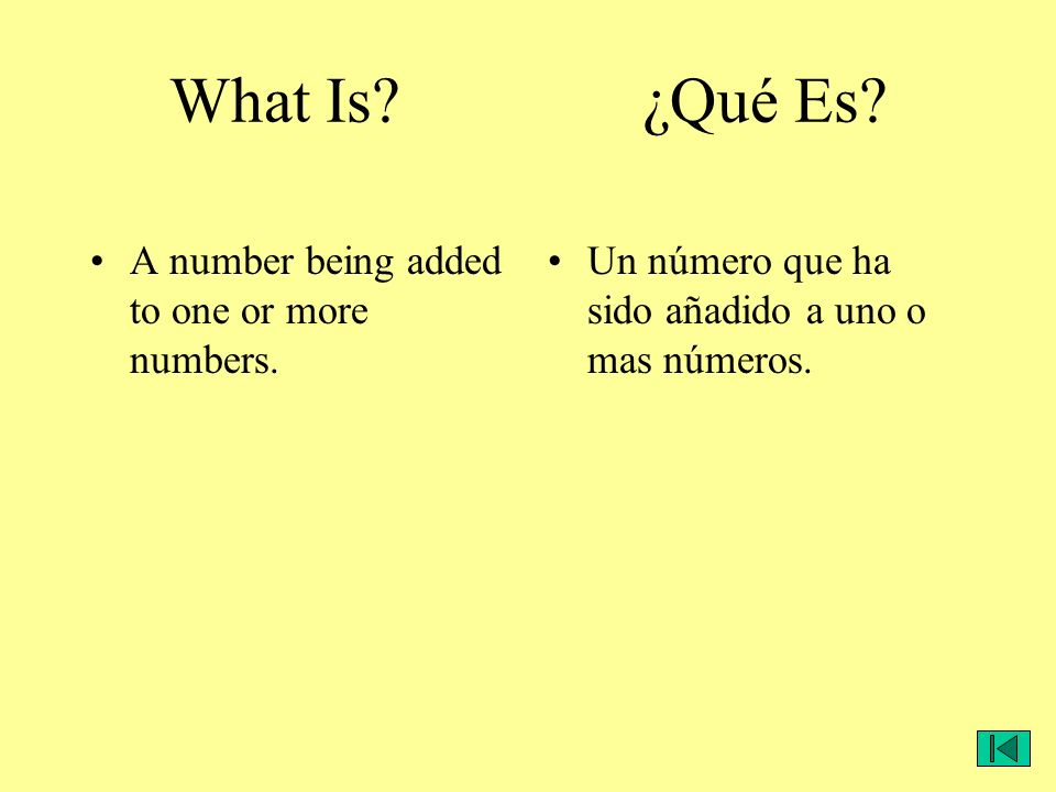 What Is? ¿Qué Es? A number being added to one or more numbers. Un número que ha sido añadido a uno o mas números.