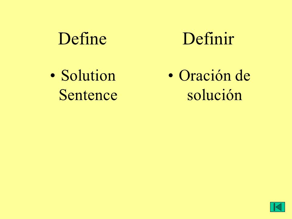 Define Definir Solution Sentence Oración de solución