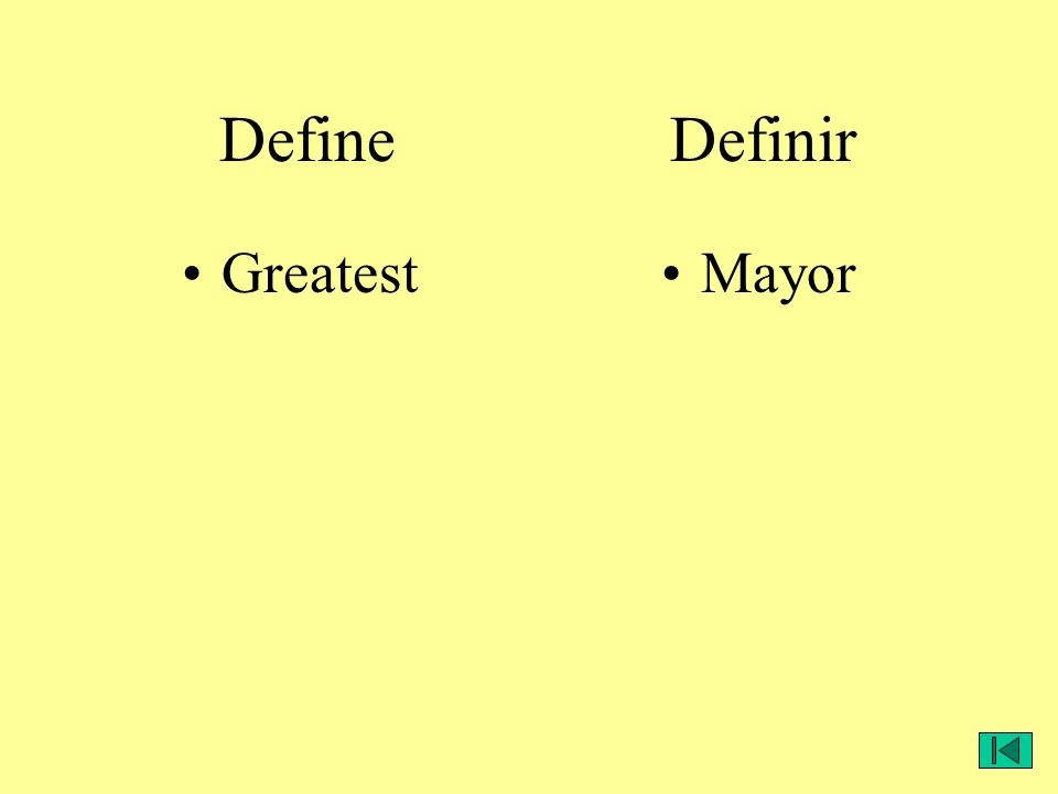GreatestMayor Define Definir