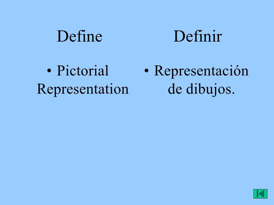 Define Definir Pictorial Representation Representación de dibujos.