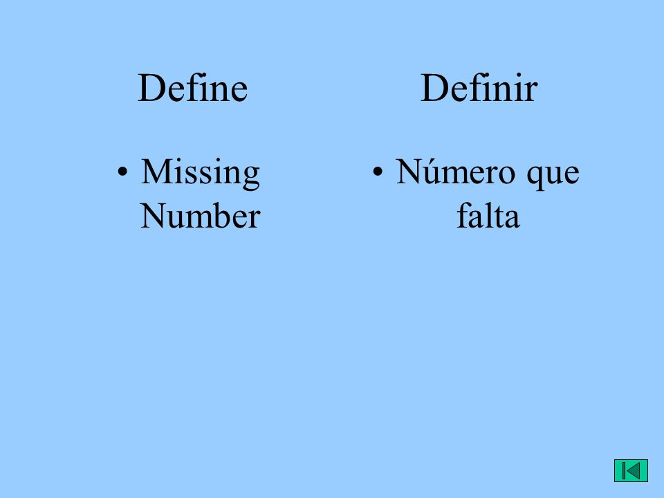 Define Definir Missing Number Número que falta