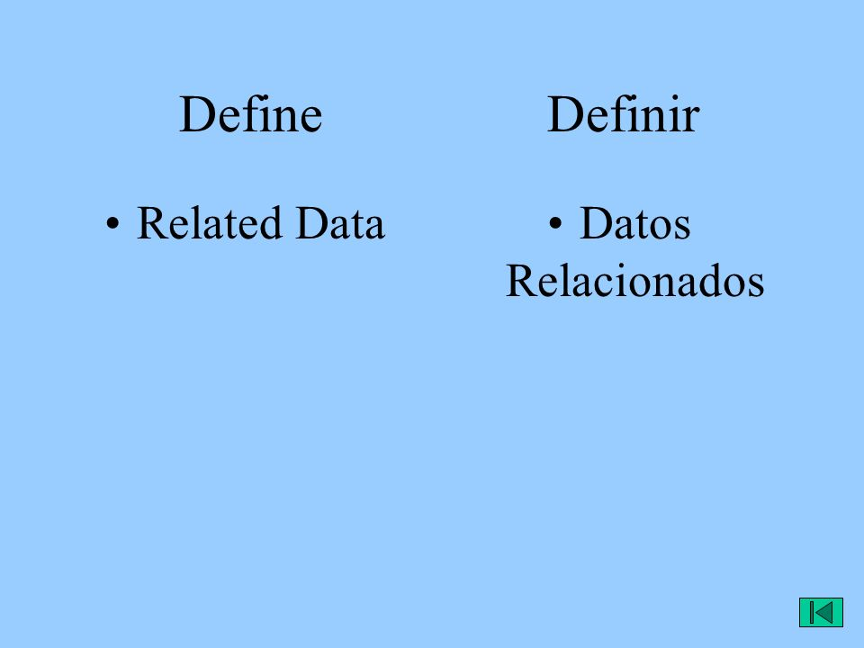 Define Definir Related DataDatos Relacionados