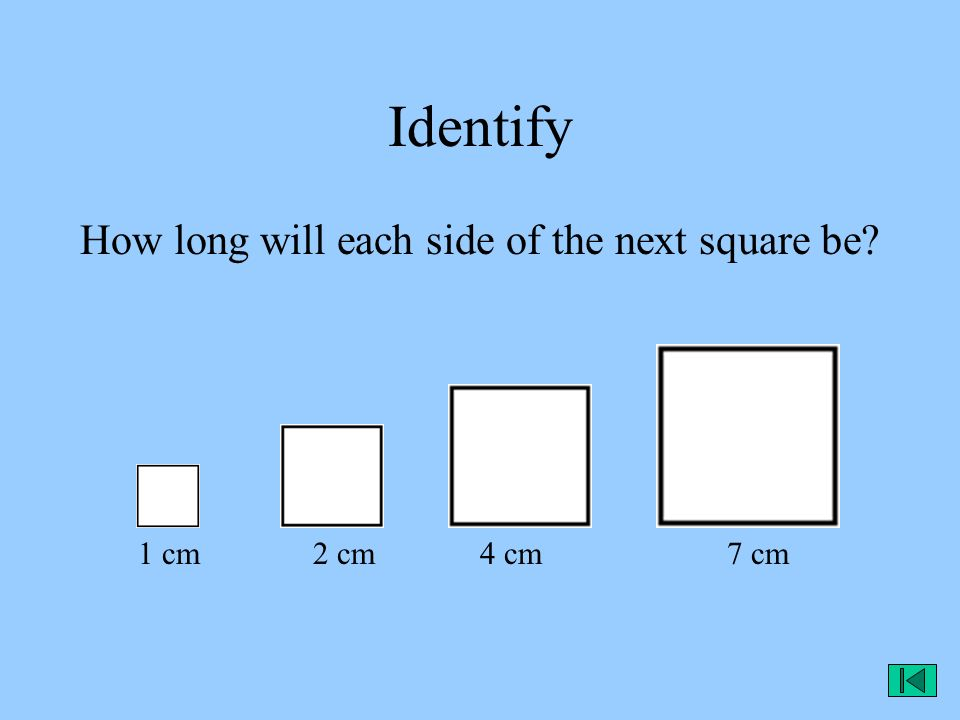Identify How long will each side of the next square be? 1 cm 2 cm 4 cm 7 cm