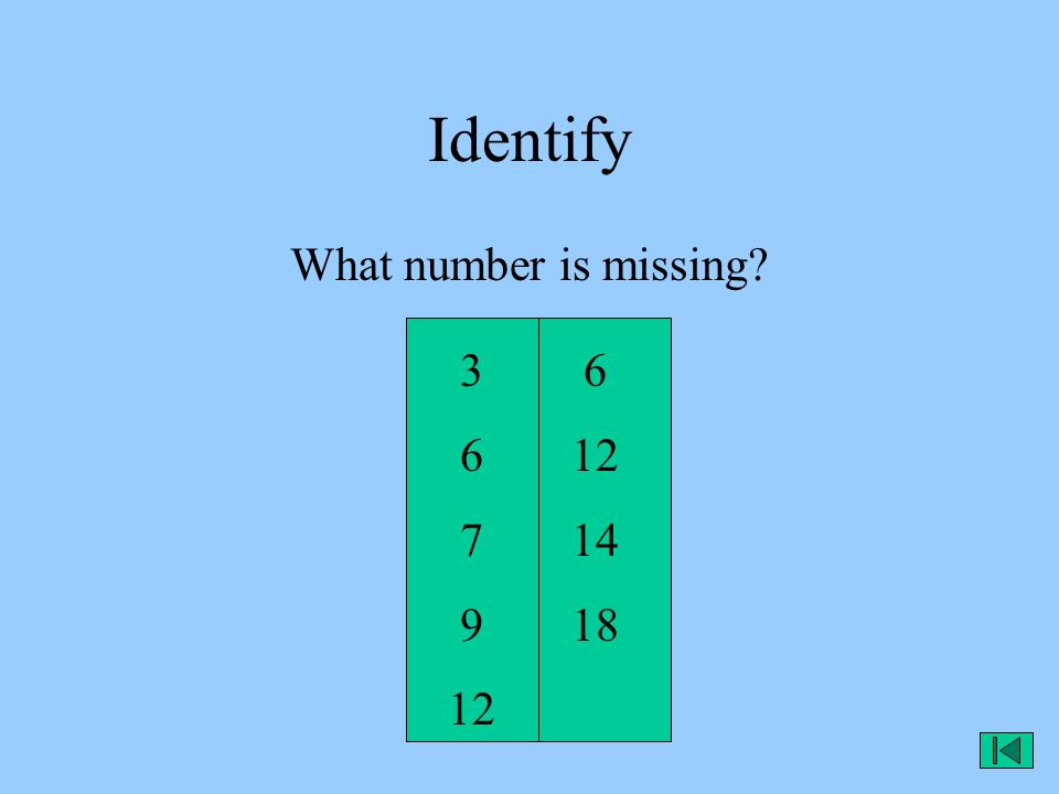 Identify What number is missing? 3 6 7 9 12 6 12 14 18