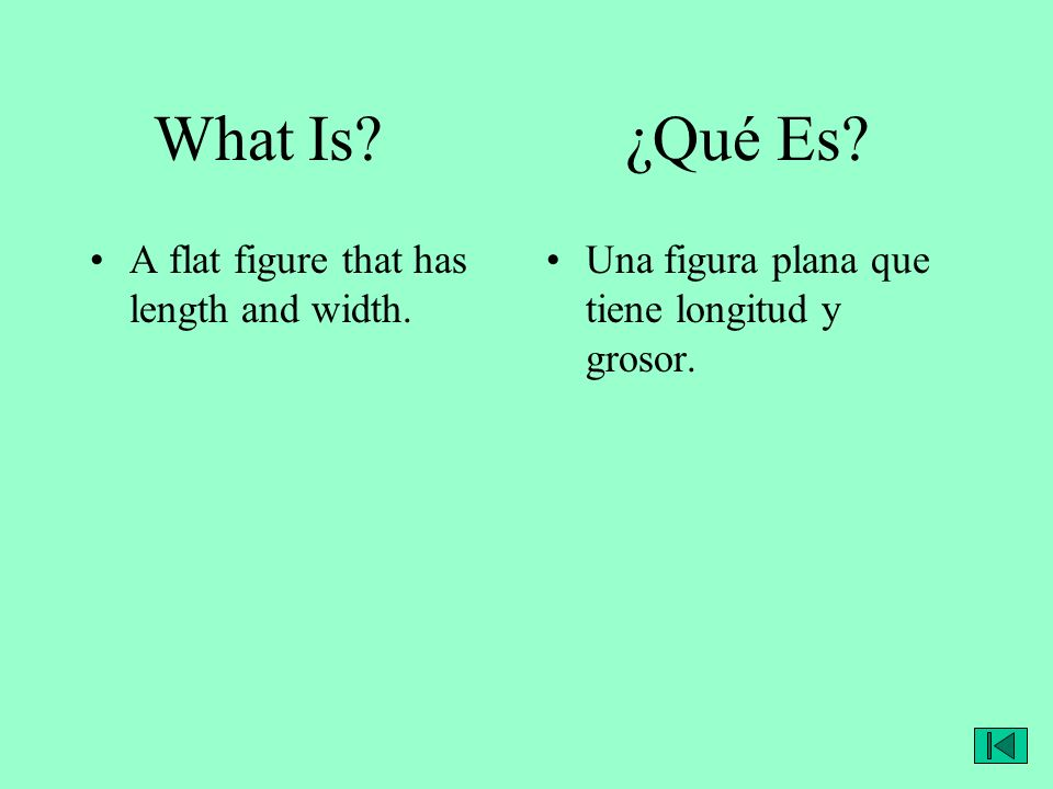 What Is? ¿Qué Es? A flat figure that has length and width. Una figura plana que tiene longitud y grosor.