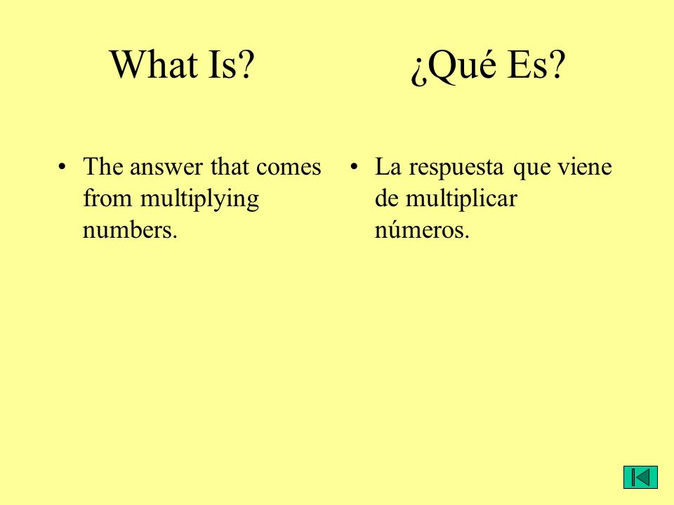 What Is? ¿Qué Es? The answer that comes from multiplying numbers. La respuesta que viene de multiplicar números.
