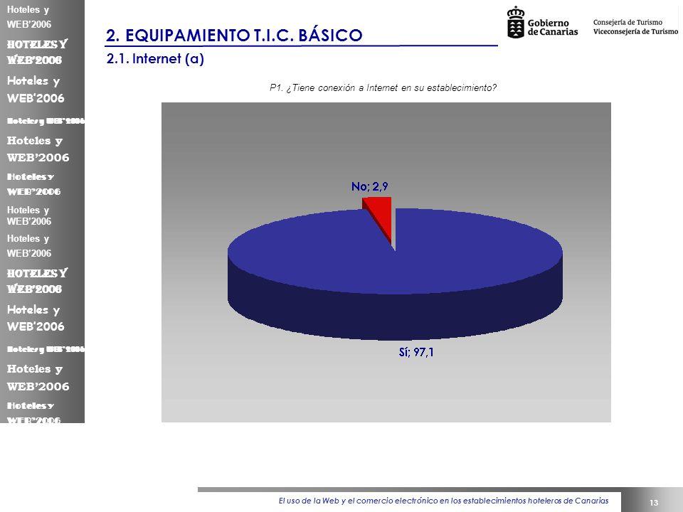 El uso de la Web y el comercio electrónico en los establecimientos hoteleros de Canarias 13 Hoteles y WEB2006 2.