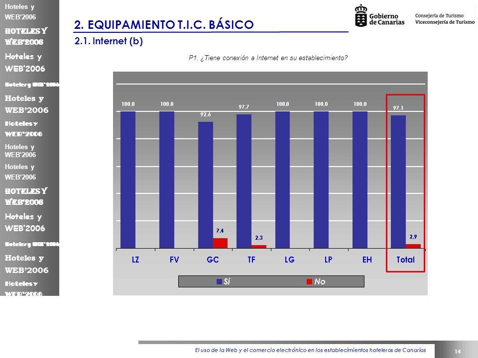El uso de la Web y el comercio electrónico en los establecimientos hoteleros de Canarias 14 Hoteles y WEB2006 2.