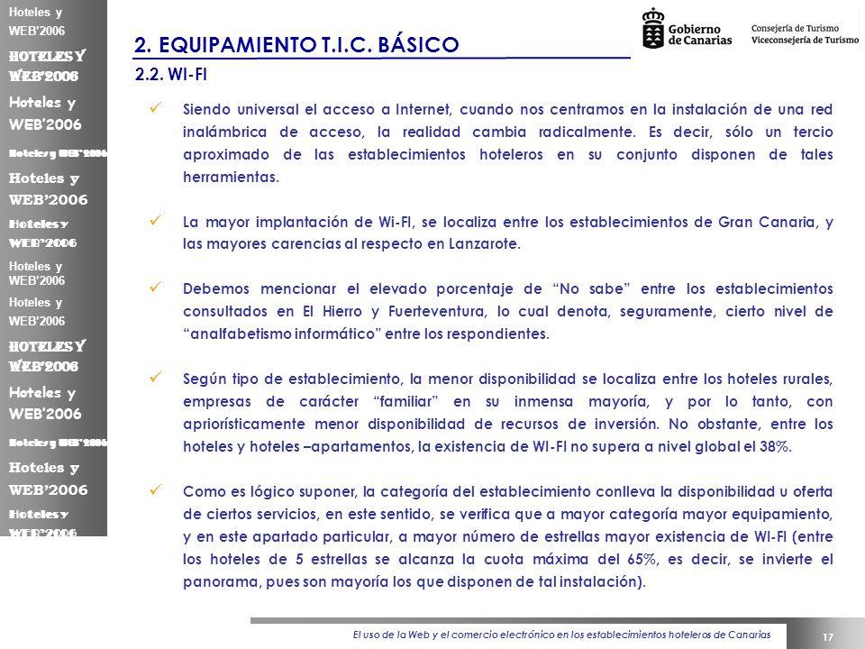 El uso de la Web y el comercio electrónico en los establecimientos hoteleros de Canarias 17 Hoteles y WEB2006 2.