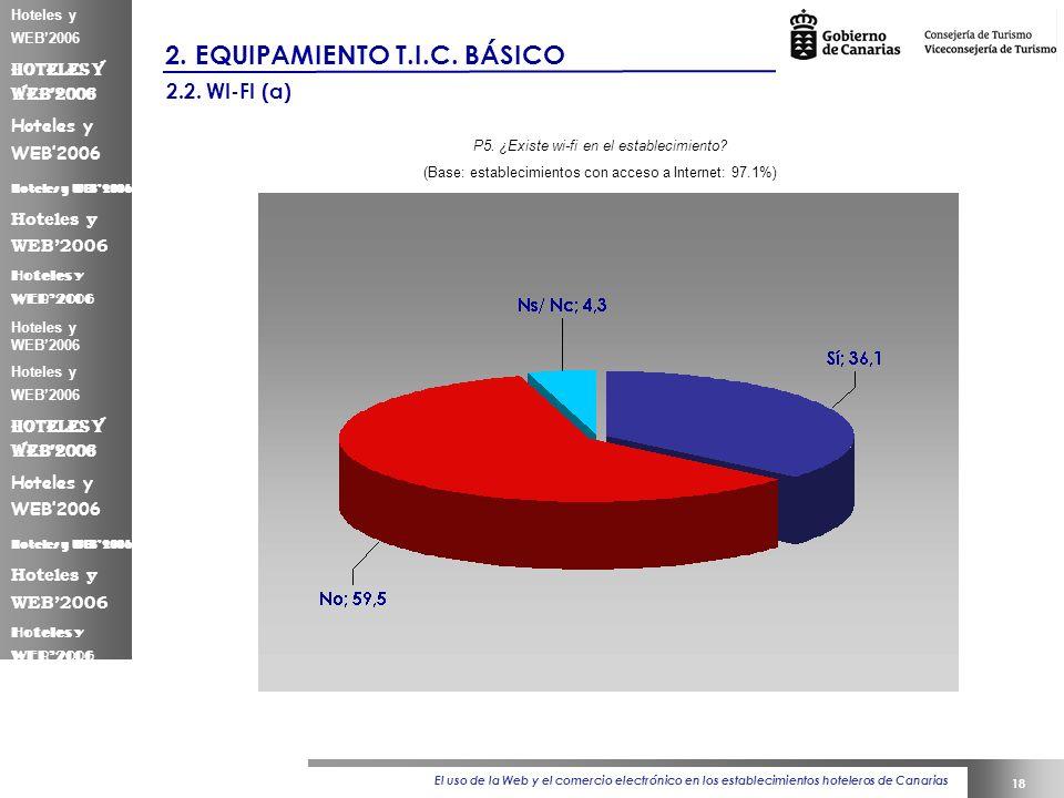El uso de la Web y el comercio electrónico en los establecimientos hoteleros de Canarias 18 Hoteles y WEB2006 2.