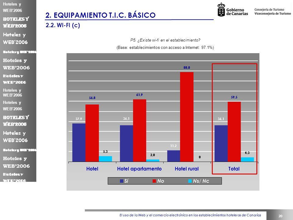 El uso de la Web y el comercio electrónico en los establecimientos hoteleros de Canarias 20 Hoteles y WEB2006 2.