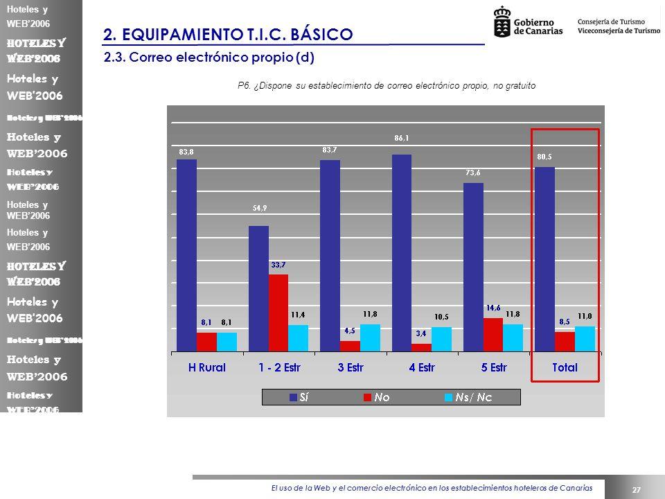 El uso de la Web y el comercio electrónico en los establecimientos hoteleros de Canarias 27 Hoteles y WEB2006 2.