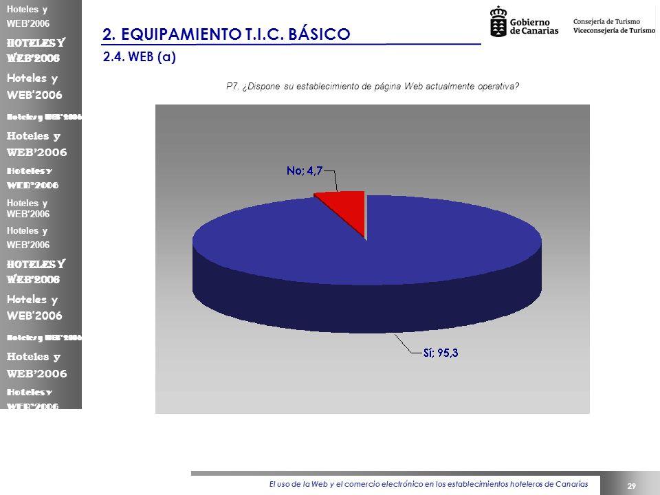 El uso de la Web y el comercio electrónico en los establecimientos hoteleros de Canarias 29 Hoteles y WEB2006 2.