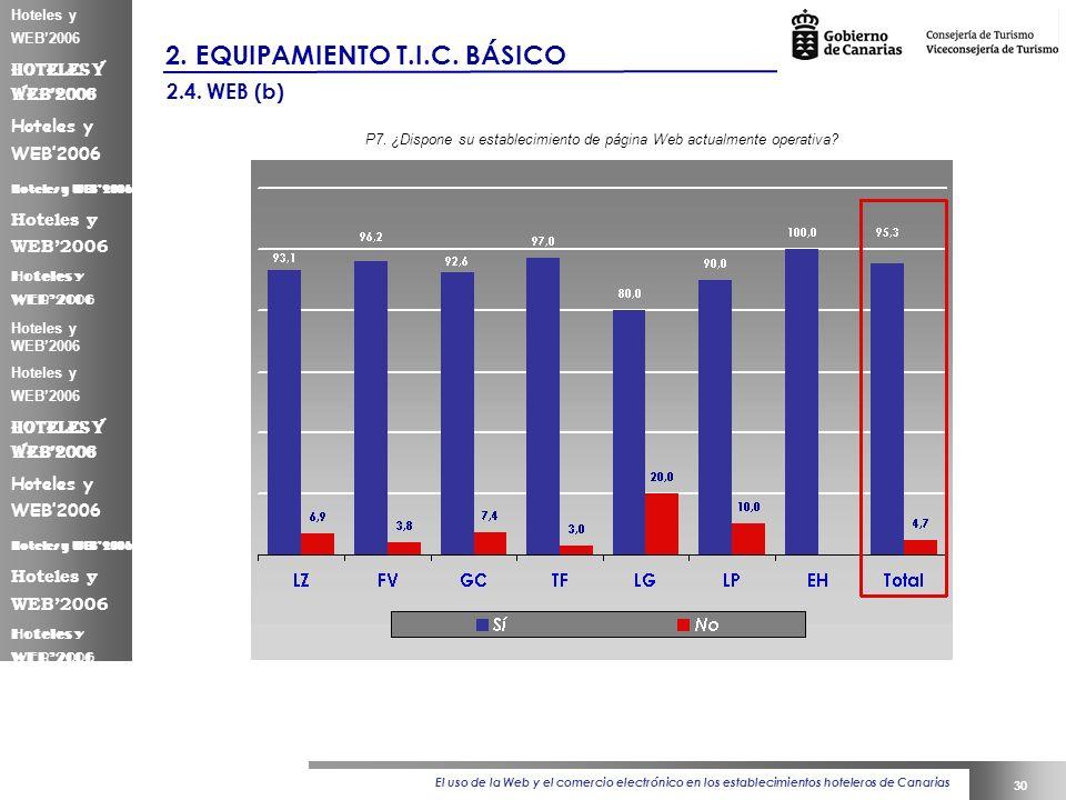 El uso de la Web y el comercio electrónico en los establecimientos hoteleros de Canarias 30 Hoteles y WEB2006 2.
