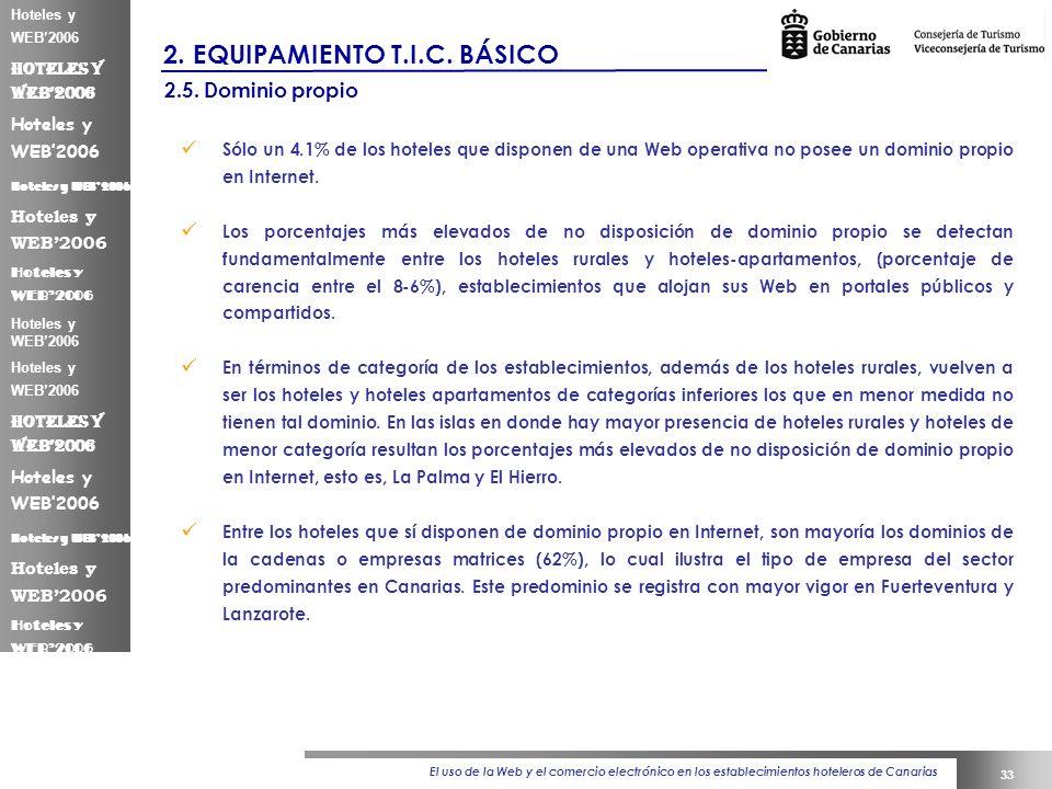 El uso de la Web y el comercio electrónico en los establecimientos hoteleros de Canarias 33 Hoteles y WEB2006 2.