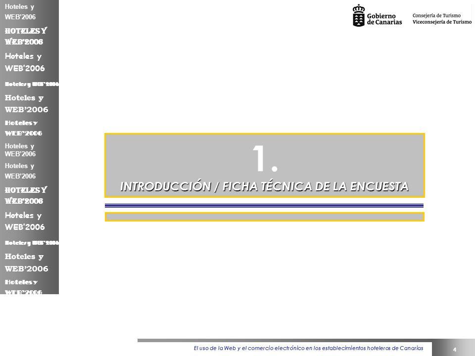 El uso de la Web y el comercio electrónico en los establecimientos hoteleros de Canarias 4 Hoteles y WEB2006 1.